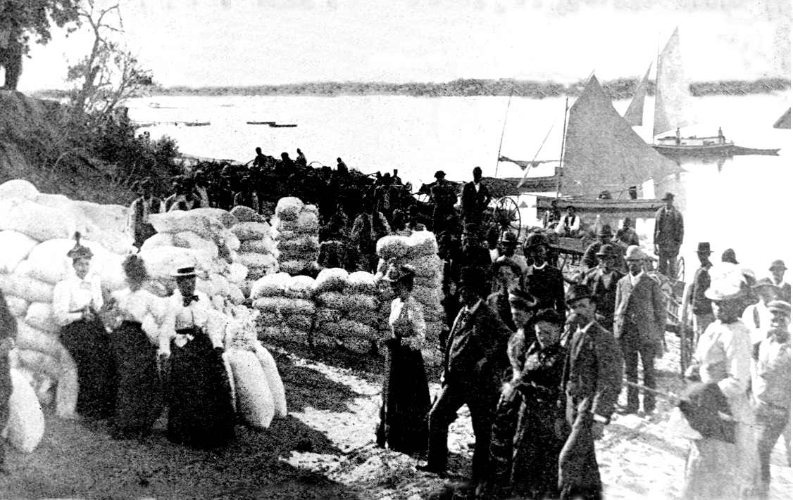 People unload supplies on Lady's Island.