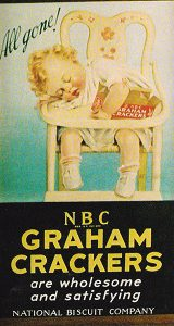 "All Gone Nabisco Grahams cardboard display, circa 1924. 12""x18""."