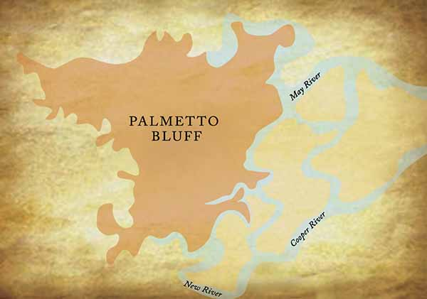 Map of Palmetto Bluff Plantation.